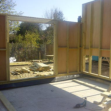 Bespoke joinery of foundations of home extension